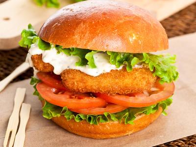 Seafood Burgers with Basil Tartar Sauce