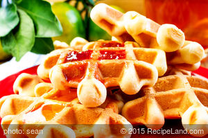 Buttermilk Waffles with Raspberry Sauce