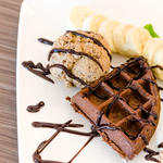 Chocolate Waffles with Ice Cream
