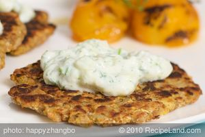 Zucchini Potato Latkes with Tzatziki