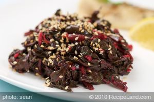 Braised Beet Greens with Vinegar and Sesame Seeds