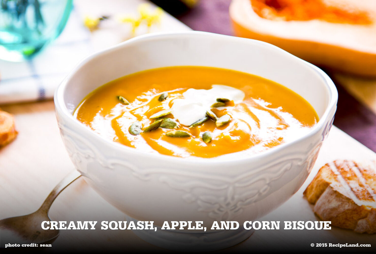 Creamy Squash, Apple, and Corn Bisque
