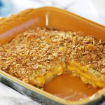 Christmas breakfast casserole recipe with a portion removed