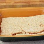 Bread lined casserole dish