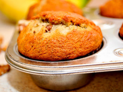 Chunky Banana Bran and Nuts Muffins