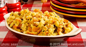Cornbread Stuffing with Apples and Golden Raisins