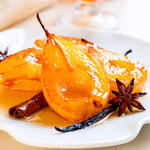 Grape and Honey Poached Pears