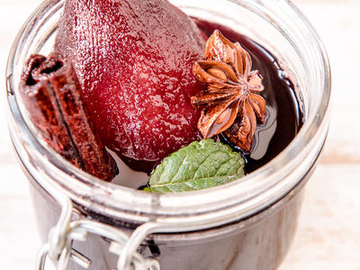 Star Anise Poached Pears In Red Wine