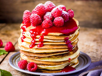 Country Style Buttermilk Pancakes with Berry Sauce