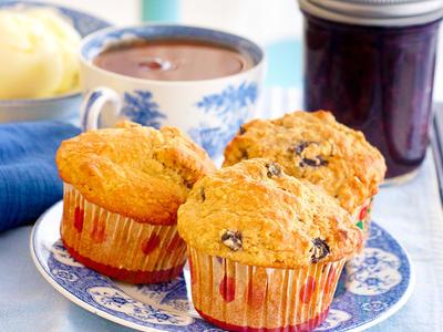 Cornmeal Honey Blueberry Muffins