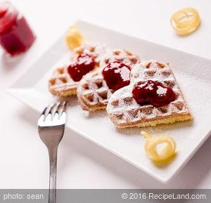Buttermilk Waffles with Cherry-Almond Sauce