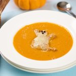 Halloween Ghost Toast in Tomato soup