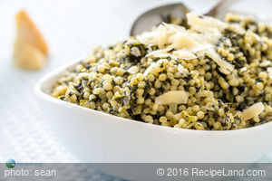 Israeli Couscous with Spinach and Parmesan Cheese