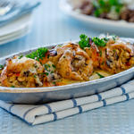 Stuffed Sole with Crab, Shrimp and Mushrooms