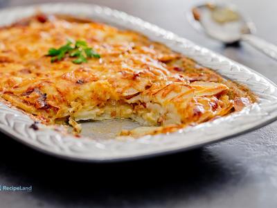 Caramelized Onions, Prosciutto and Potato Casserole