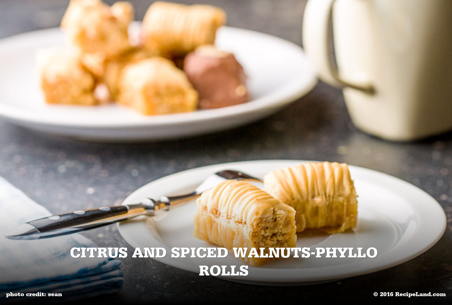 Citrus and Spiced Walnuts-Phyllo Rolls