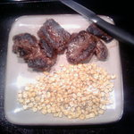 mustard fried caribou with herbed corn