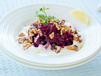 Beet, Walnuts, Dry Prunes and Garlic Salad