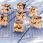 Chocolate and Peanut Butter Puffed Rice Bars