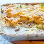 Cheesy Potato, Leek and Mushroom Gratin