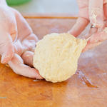 Spatzle dough should be slightly sticky, yet still elastic and firm