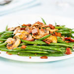 Green beans & bacon with sautéed mushrooms & shallots