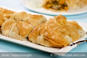 Phyllo Purses with Roasted Squash, Peppers, and Artichokes