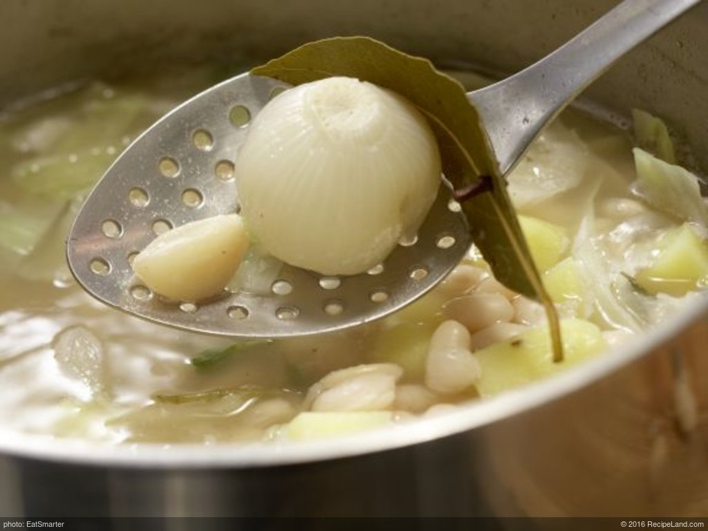 French Cabbage and Bean Soup with ham and potatoes