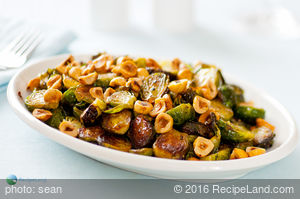 Maple Roasted Brussel Sprouts With Toasted Hazelnuts