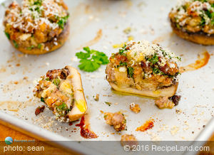 Leftover Stuffing Stuffed Mushrooms