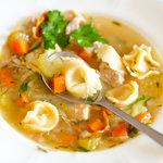 Chicken Tortellini Soup close-up