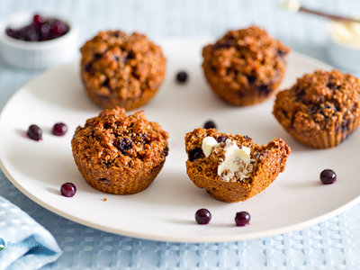Blueberry Bran Molasses Muffins