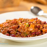 This chili is absolutely fantastic, love the flavor and the texture; instead of burglar that we didn't have on hand, we used TVP, and also we cut down the amount of beans into the half. Served it with our homemade whole wheat herb bread, and it was just delicious!