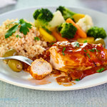 Quick 'n easy chicken breast recipe that only uses a few common pantry ingredients. Pair it with rice and veggies and you can have it ready in 20 minutes or so.