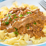 An easy main dish that turns beef strips and onions on a bed of egg noodles into a tasty easy weeknight meal that's packed with flavor.