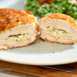 Stuffed chicken breasts with ooey gooey cream cheese and basil pesto. Common ingredients result in juicy chicken literally packed with flavor. Rich and low-fat rarely go together but this recipe delivers both!