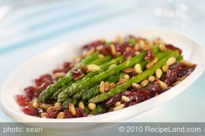 Asparagus with Cranberries and Pine Nuts