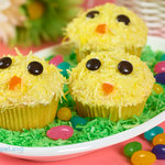 Yellow colored coconut flakes make these Easter chicks cupcakes look fluffy and cute, this is a great recipe to make with your kids, they will love these cutest chick cupcakes!
