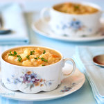 Easy crock pot potato soup. Serve with chopped green onions and slice cheddar cheese. SUPERB! Absolutely wonderful.