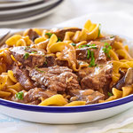 Tender beef steak strips, mushrooms with egg noodles in a tangy sauce. Perfectly sized for two servings and it's all cooked in one pan for a no-fuss weekday main dish.