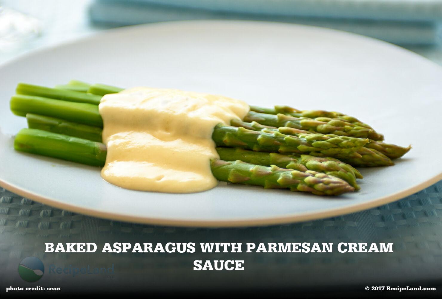 Baked Asparagus with Parmesan Cream Sauce
