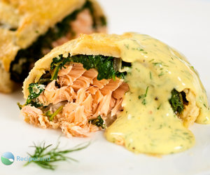 Salmon Wellington with Dilled Hollandaise