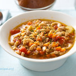 A delicious and filling vegetable and pork soup with pasta for two that's ready in under 30 minutes and packed with flavor.  It's easy to turn ground pork and pasta into a great tasting soup.