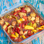 Delicious and easy to make. Chunks of chickens, sausages, and fresh veggies are cooked with stewed tomatoes, which makes lots of tasty sauce. Serve it over a bed of rice or spaghetti. YUM!