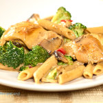 Quick and easy chicken mushroom pasta and vegetable dinner. One pan, no fuss, forgiving and adaptable family favorite.