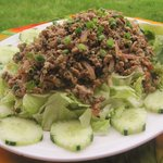 "This is a type of meat salad that is an ""unofficial"" national dish of Laos and is also made in Thailand.  It is a dish of ground meat, flavored with lime juice and fish or soy sauce and various other ingredients such as chilies, cilantro and mint."