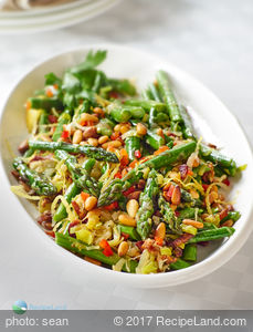 Sauteed Asparagus, Leeks with Pancetta and Pine Nuts