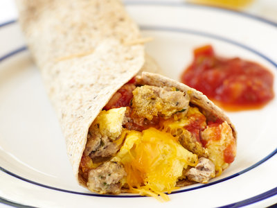 Cheesy Breakfast Sausage Tortillas