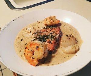 Pesto Salmon and Sea Scallops with Shallot Sauce