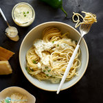 Easy garlic jalapeno cream sauce that's ready in minutes.  Tangy with a bit of heat, this sauce makes a great substitute for Alfredo sauce atop a quick pasta for a delicious no-fuss weeknight main dish.